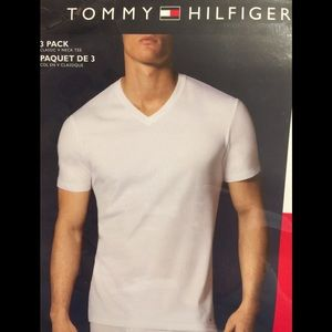 New Tommy Hilfiger 3 Pack White Classic Fit V-Neck T-Shirts NWT S,M,L,XL